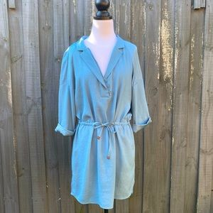 Zara Blue Half Sleeve Waist Tie Dress M AU10-12
